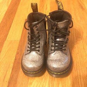 Silver Glitter Dr. Martens Toddler Boots